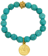 Susan Shaw Jewelry Gold Coin on genuine Turquoise stone bracelet (2656TQ)