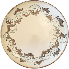 Magnolia Creative Cotton Round Platter with Gold Trim