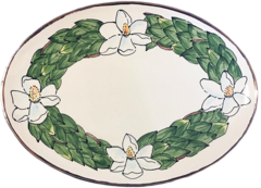 Magnolia Creative Magnolia Oval Platter with Gold Trim