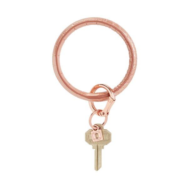 O-Ring Keychain Big O Key Ring - Solid Rose Gold Croc