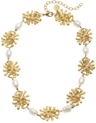 Susan Shaw Jewelry Gold Starburst and Freshwater Pearl Necklace  (3567W)