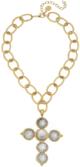Susan Shaw Jewelry Gold/Silver Coin Cross Chain Necklace (3070G)