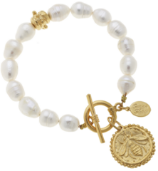 Susan Shaw Jewelry Gold Bee on Genuine Freshwater Pearl Bracelet  (2334RB)