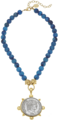 Susan Shaw Jewelry Gold & Silver Coin on Genuine Peacock Blue Agate Necklace (3332CR)
