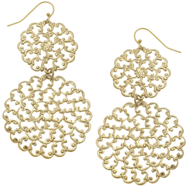 Susan Shaw Jewelry Gold Filigree Earrings (1851)