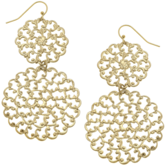 Susan Shaw Jewelry Gold Filigree Earrings (1851)
