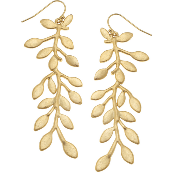 "Susan Shaw Jewelry Handcast Gold ""Vine"" Earring. (1478G)"