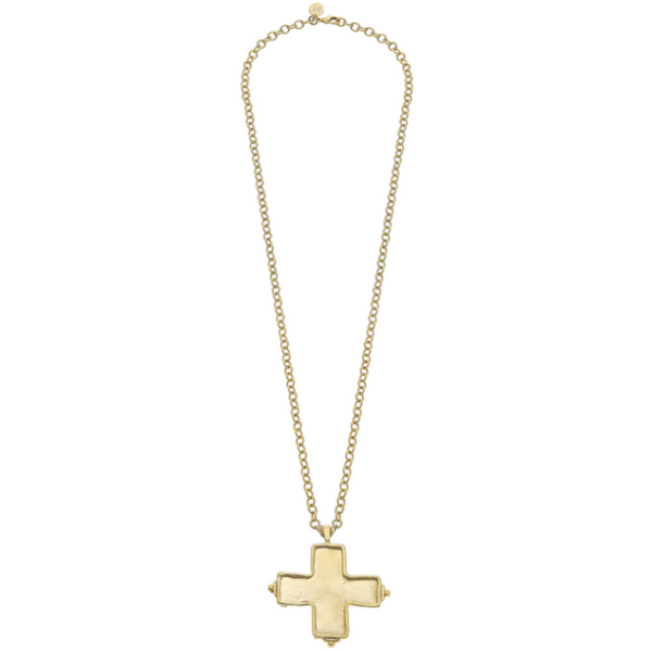 "Susan Shaw Jewelry 30"" Handcast Gold Cross Necklace (3511G)"