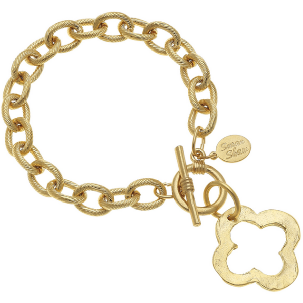 Susan Shaw Jewelry Gold Clover Toggle Bracelet (2510VG)