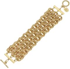 Susan Shaw Jewelry 3-row Handcast Gold Chain Bracelet (2720G)