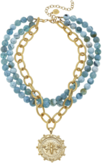 Susan Shaw Jewelry Multi-Strand Fire Agate with Handcast Gold Bee Necklace (3336B)