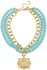 Susan Shaw Jewelry Multi-Strand Aqua Quartz with Handcast Gold Bee Necklace (3276B)