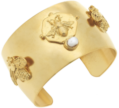 Susan Shaw Jewelry Handcast Gold Bee Cuff with Handset Genuine Freshwater Pearl (2504BG)