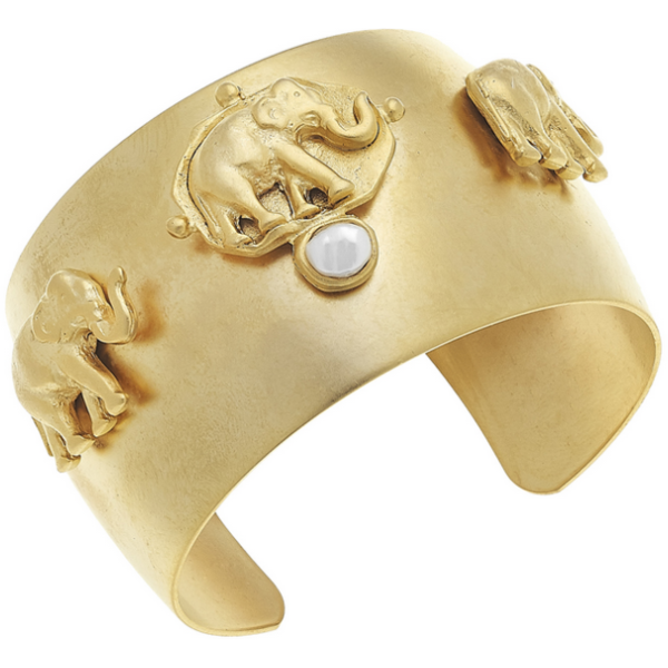 Susan Shaw Jewelry Handcast Gold Bee Cuff with Handset Genuine Freshwater Pearl (2504EG)