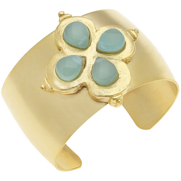 Susan Shaw Jewelry Handcast Gold Clover with Genuine Aqua Quartz Cuff Bracelet (2148AQ)