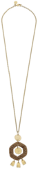 Susan Shaw Jewelry Handcast Gold Geometric & Brown Rattan Necklace (3639G)