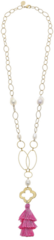 Susan Shaw Jewelry Handcast Gold Clover & Genuine Baroque Pearl, Pink Silk Tassel Necklace