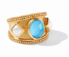Julie Vos Loire Stone Ring Iridescent Pacific Blue - Size 8/9