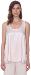 PJ Harlow Laura Satin Cami With Pleated Back - Blush or Pearl