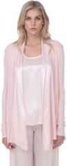 PJ Harlow Shelby Rib Knit Cardigan With Satin Trim - Blush or Pearl