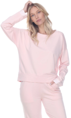 PJ Harlow Izzy French Terry Sweatshirt With Satin Cuffs - Blush, Dark Silver or Pearl