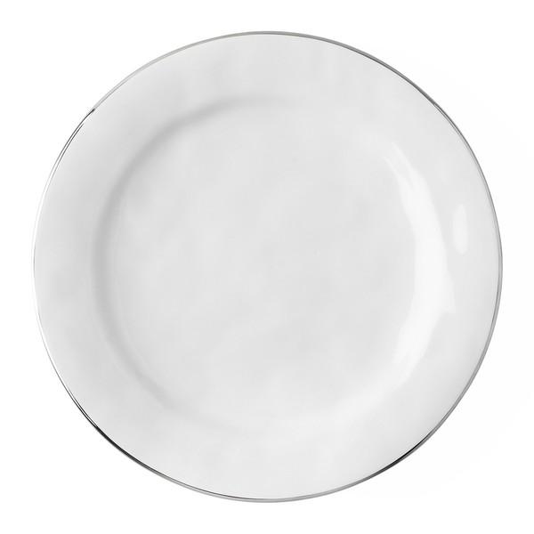 Juliska Puro Whitewash Dinner Plate with Platinum Rim (KS01/15)