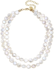 Susan Shaw Jewelry Double Strand Coin Pearl Necklace