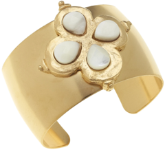 Susan Shaw Jewelry Clover Stone Cuff - Mother of Pearl