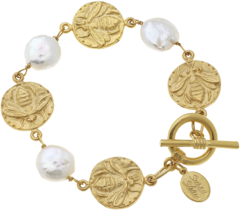 Susan Shaw Jewelry Bee and Pearl Bracelet