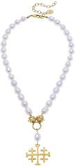 Susan Shaw Jewelry Jerusalem Cross Freshwatwer Pearl Necklace