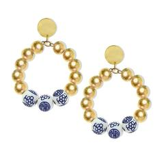 Susan Shaw Jewelry Blue and White Margaret Midi Loop (1300F)