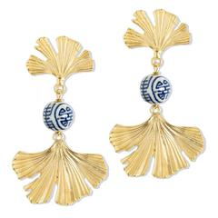 Susan Shaw Jewelry Blue and White Ginkgo Earrings (1068G)