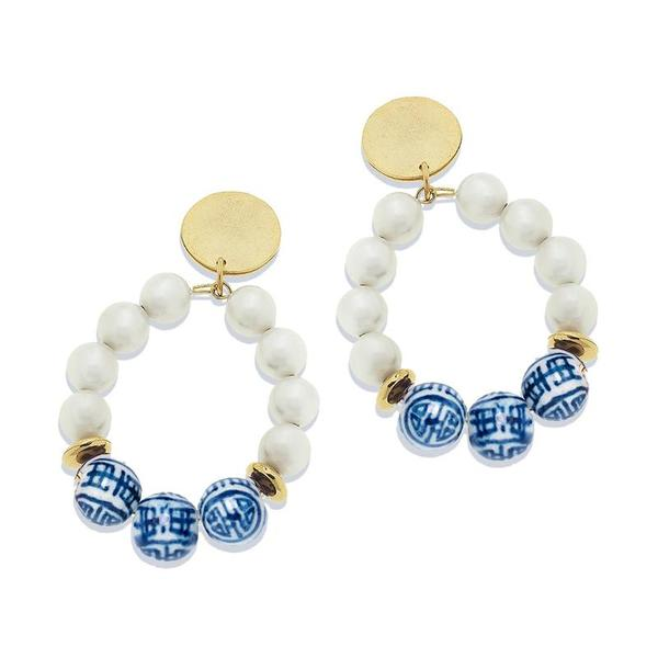 Susan Shaw Jewelry Blue and White Pearl Loop Earrings (1300B)