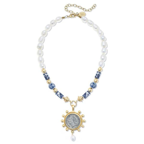 Susan Shaw Jewelry Blue and White French Franc Necklace (3298CR)