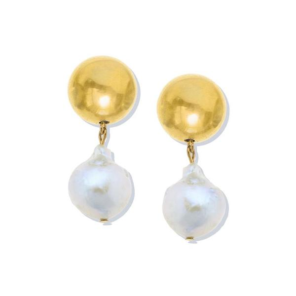 Susan Shaw Jewelry Gold Ball and Barque Pearl Drops (1314WG)