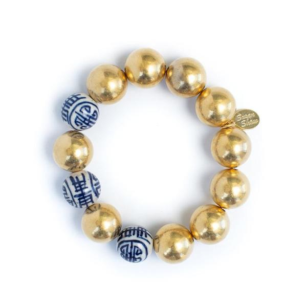 Susan Shaw Jewelry Blue and White Margaret Bracelet (2301G)