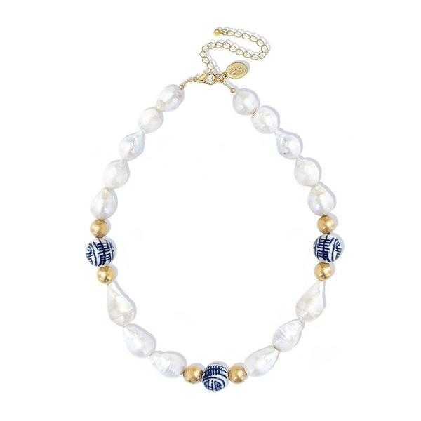 Susan Shaw Jewelry Blue and White Baroque Pearl Necklace (3297W)