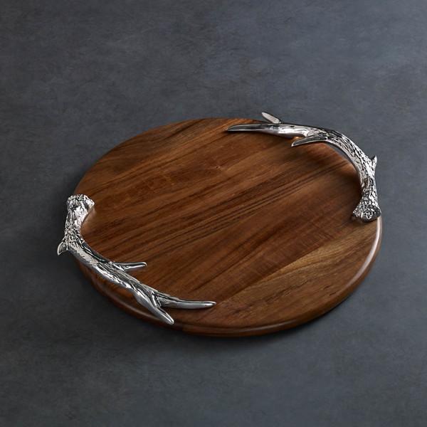 Beatriz Ball > Western > Antler Large Round Wood Tray