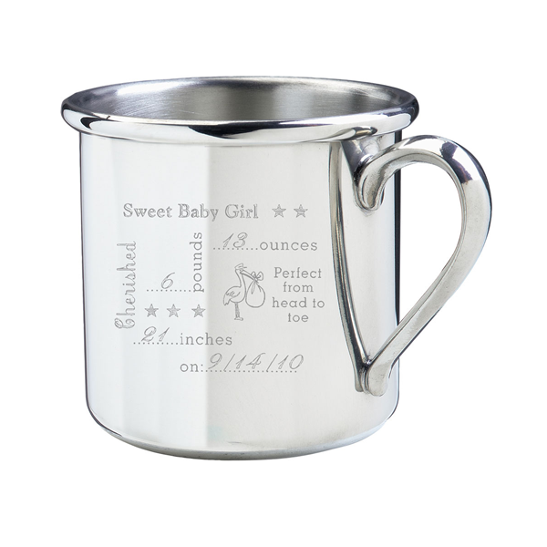 Engraved Pewter Birth Record Cup (SBS-BRC)