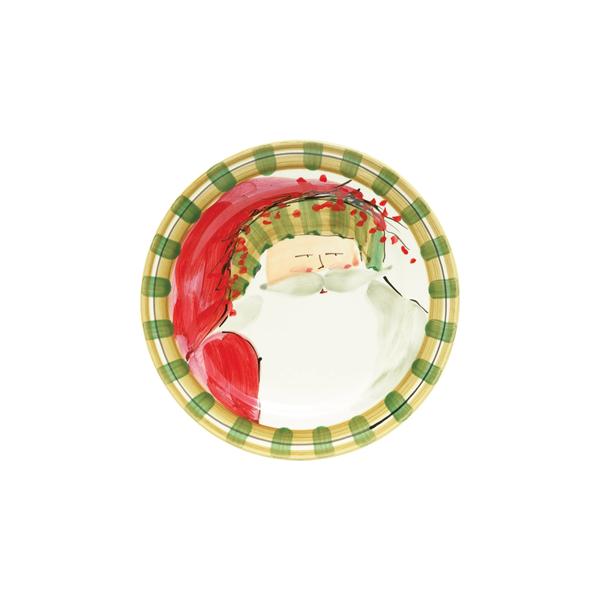 Vietri Old St Nick Round Salad Plate - Striped Hat (OSN-7802D)