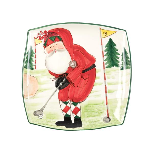 Vietri Old St Nick Square Platter - Golfing (OSN-78068)