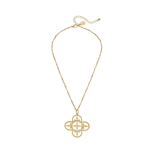 Susan Shaw Jewelry Filigree Clover Necklace (3056G)