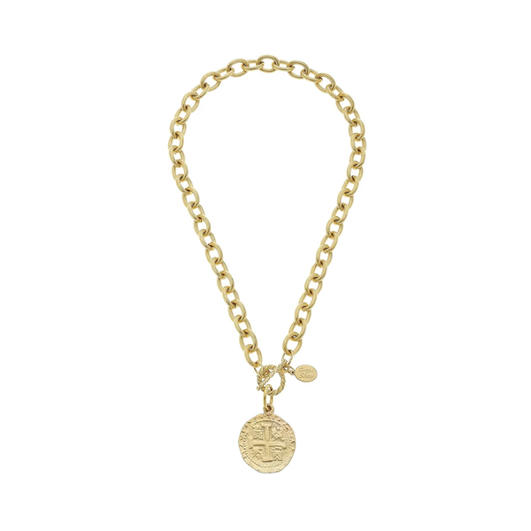 Susan Shaw Jewelry Peruvian Coin Toggle Necklace (3165CR)