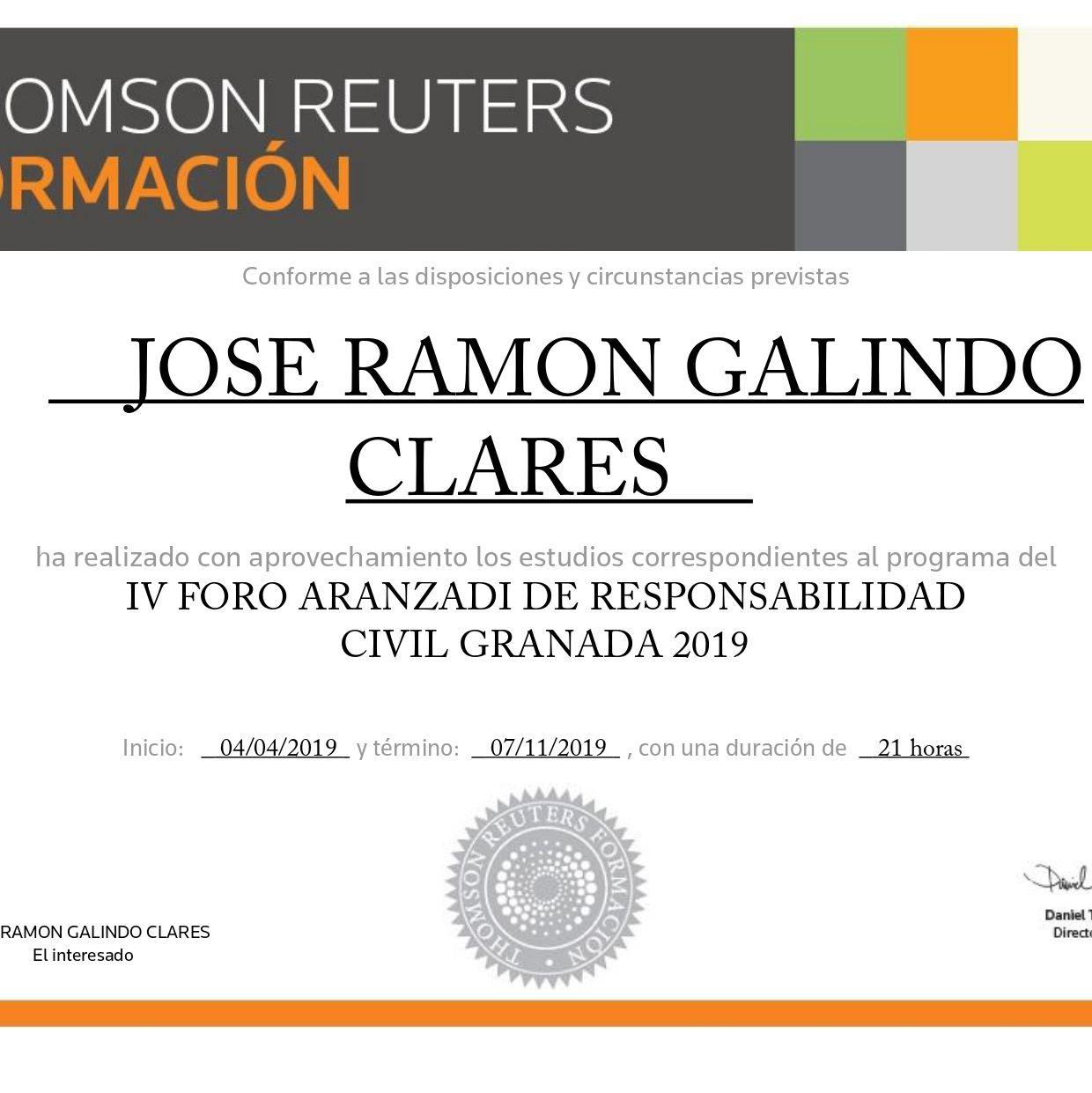 Diploma Foro IV Anual sobre Responsabilidad Civil