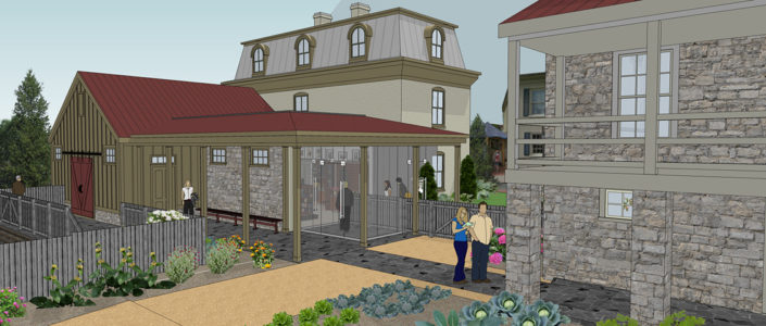 Artist rendering of the new gift shop and orientation center at the Stonewall Jackson House.