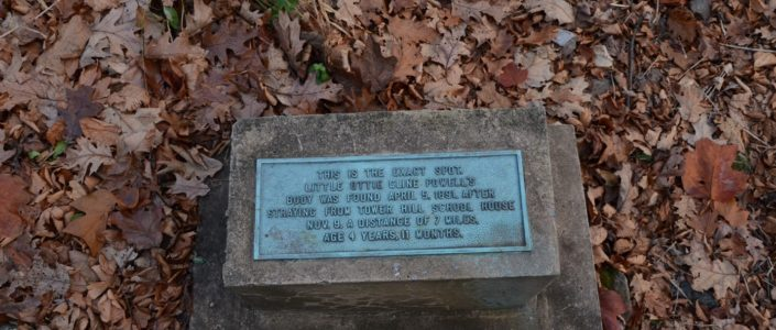 "According to local legend, when winter's icy breadth is on the mountain, little Ottie is seen wandering the woods looking for his way back home. Several hiking logs at the Punchbowl shelter have reported sighting a small boy who disappears when approached in the vicinity. The monument reads: ""This is the exact spot little Ottie Cline Powell's body was found April 5, 1891, after straying from Tower Hill School House Nov. 9, a distance of 7 miles. Age 4 years 11 months."""