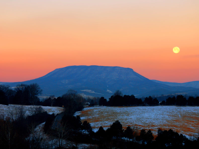 Lexington VA House Mountain at Sunset