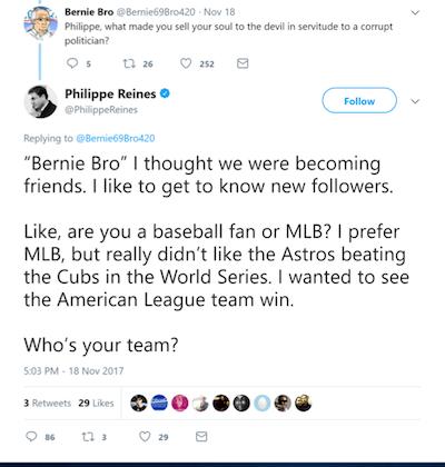 Philippe Reines tweeting Bernie Bro