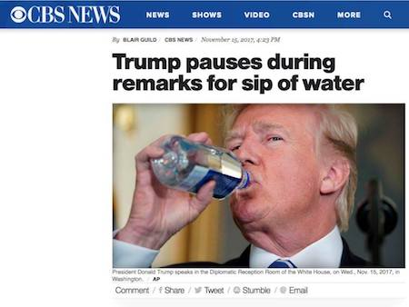 Trump pauses during remarks for sip of water