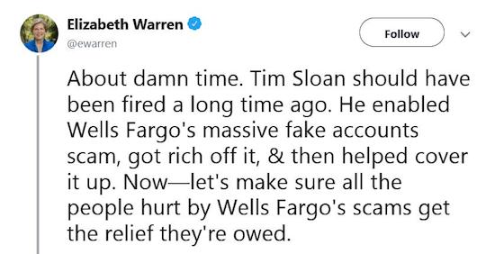 Elizabeth Warren tweet